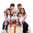 Happy family with gift box. — Stock Photo #1336507