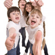 Happy family throw out thumb. - Stock Photo