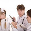 Doctor inject inoculation to child. — Stock Photo