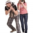 Photographer group with digital camera. — Stock Photo