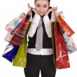 Stock Photo: Businesswomen with bag shopping.