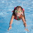 Girl in goggles learn swim. — Stock Photo #1336834