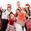 Happy family with red gift box. — Lizenzfreies Foto