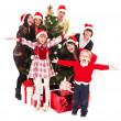 Christmas , children and tree - Stock Photo