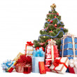 Christmas tree and group gift box. - Zdjęcie stockowe