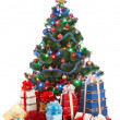Christmas tree with light and gift box. — Stock Photo