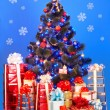 Christmas tree with light, snowflake — Stock Photo