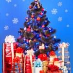 Christmas tree with light, snowflake — Stock Photo