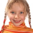 Happy child girl in orange sweater — Stock Photo
