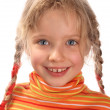 Happy child girl in orange sweater - Stock Photo