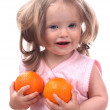 Smiling baby and two orange. — Stock Photo #1338081