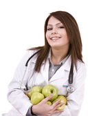 Doctor and group green apple. — Stock Photo