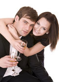 Couple of girl and man drink wine. — Stock Photo