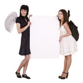 Couple of angel with banner. — Stock Photo