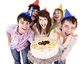 Teenagers celebrate happy birthday. — Stock Photo
