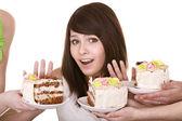 Girl refuse to eat pie. — Stock Photo