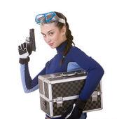 Beautiful girl in goggles with box. — Stock Photo