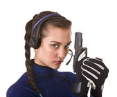 Girl with gun support customer. — Foto Stock