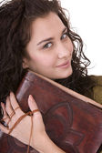Clever woman with old book. — Stock Photo