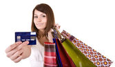 Girl with bag and credit card. — Stock Photo