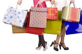Saco de compras e grupo de perna em sapatos. — Foto Stock