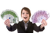 Businesswomen with group of money. — Stock Photo