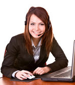 Girl with laptop from support service. — Stock Photo