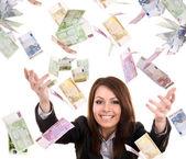 Mulheres de negócios com dinheiro a voar. — Foto Stock
