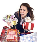 Business woman with money, gift, box. — Stock Photo