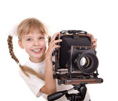 Child with large format digital camera. — Stock Photo