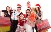 Happy family with red gift box. — Stockfoto