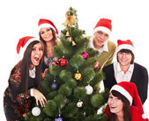 Christmas group and tree — Stock Photo
