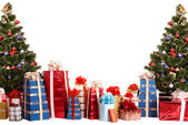 Christmas tree group, gift box. — Stock Photo
