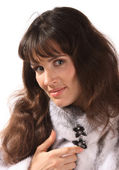 Beautiful girl in mink fur coat. — Stock Photo