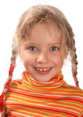 Happy child girl in orange sweater — Stock Photo