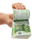 Banknote money euro in hand — Stock Photo