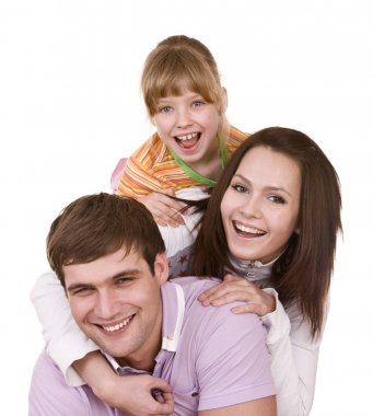 Happy family and child. Isolated.