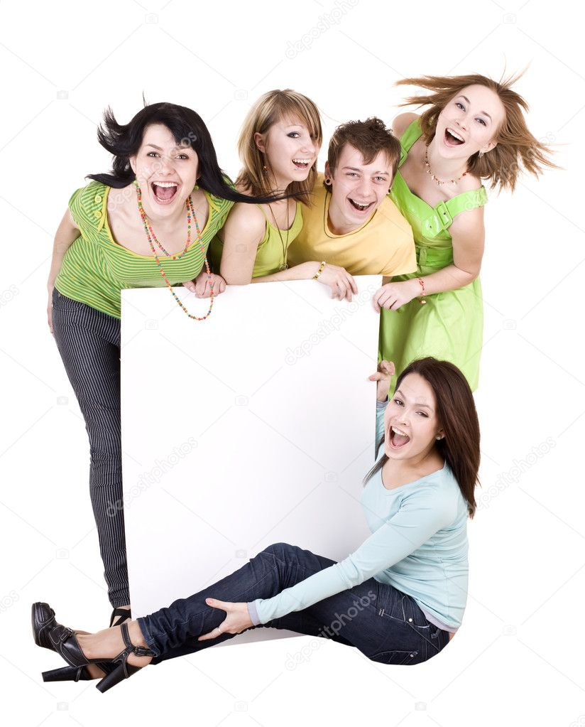 Group of young take banner.Isolated. — Stock Photo #1334180