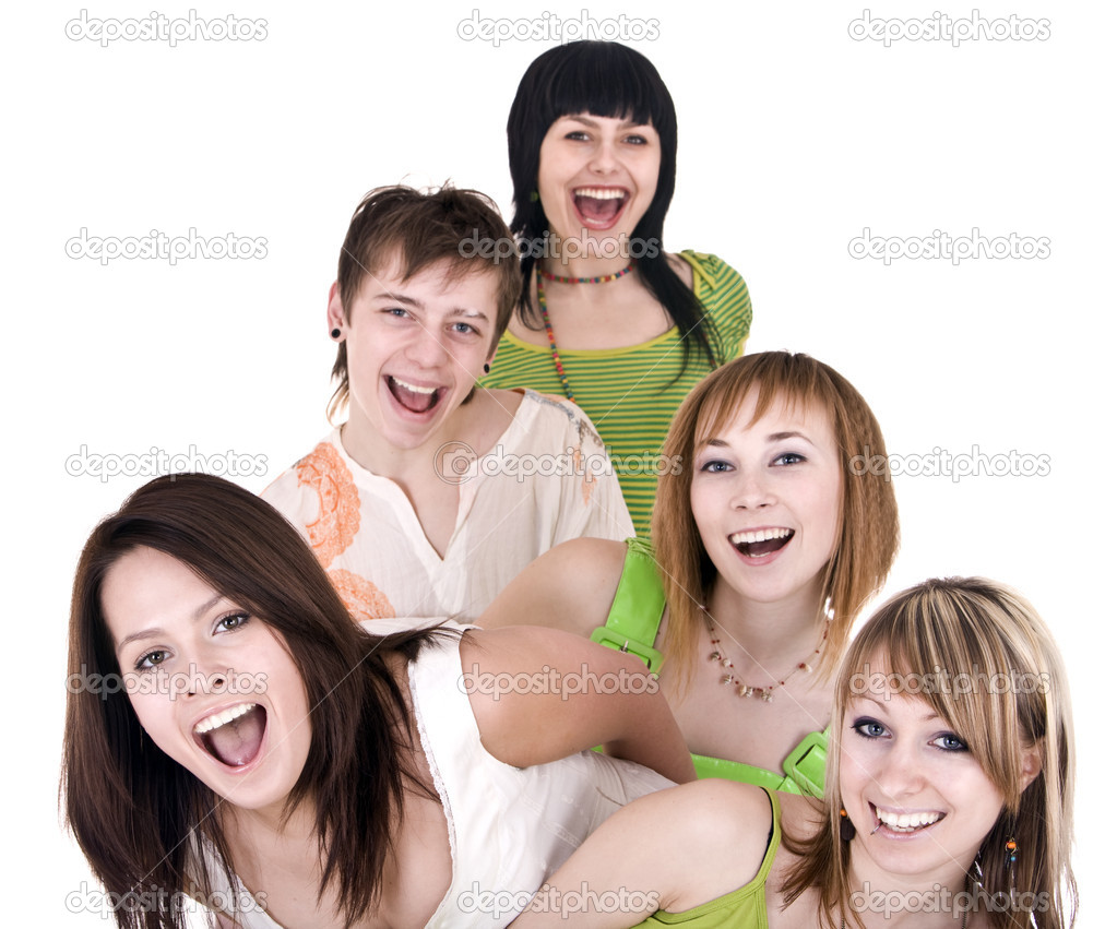 Cheerful group of young . Isolated. — Stock Photo #1334194