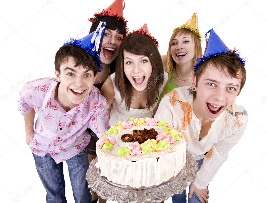 Group of celebrate happy birthday with cake. Isolated.  Stock Photo #1334283