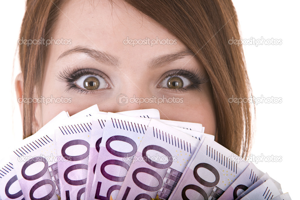 Happy woman with group of money. Isolated. — Stock Photo #1336196