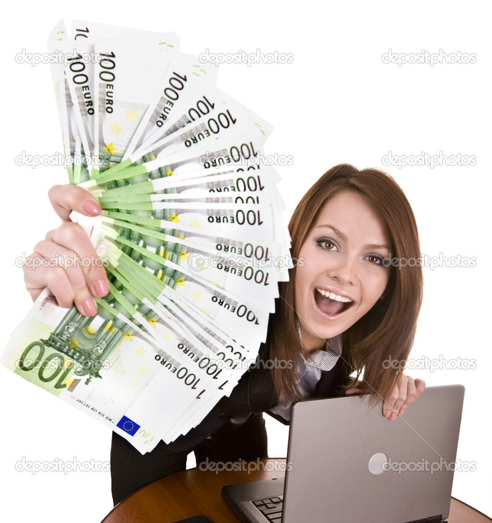 Businesswomen with group of money and laptop. Isolated. — Stock Photo #1336261