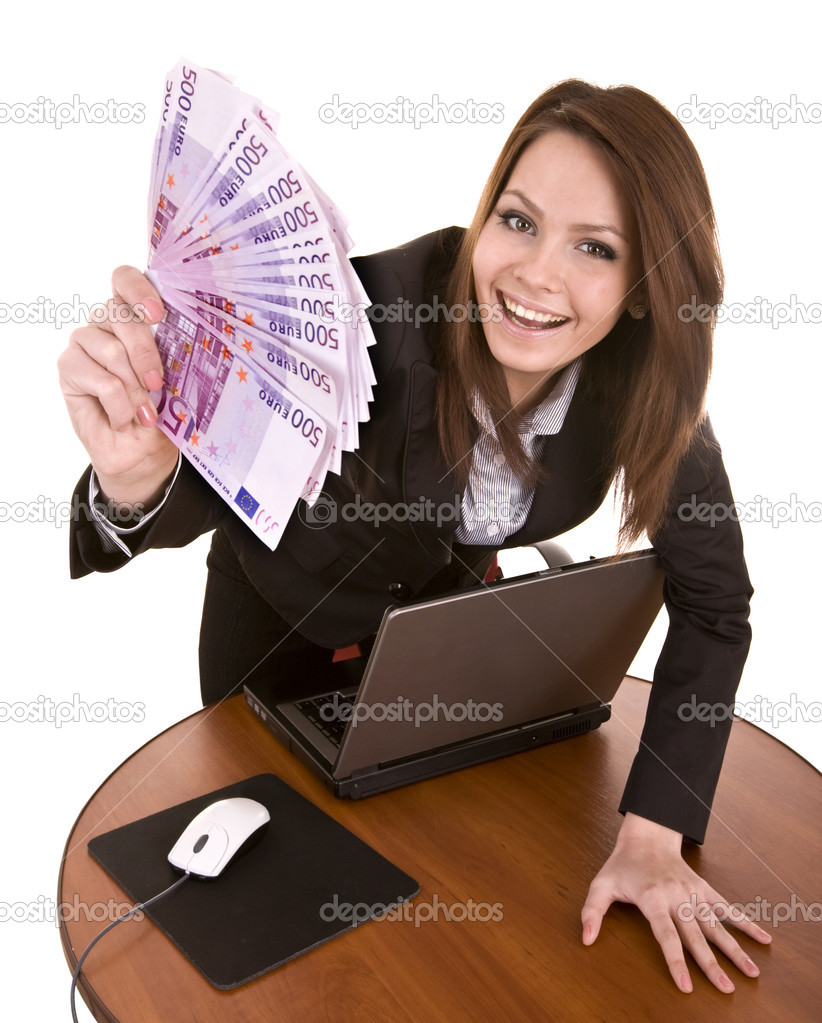Businesswomen with group of money and laptop. Isolated. — Stock Photo #1336265