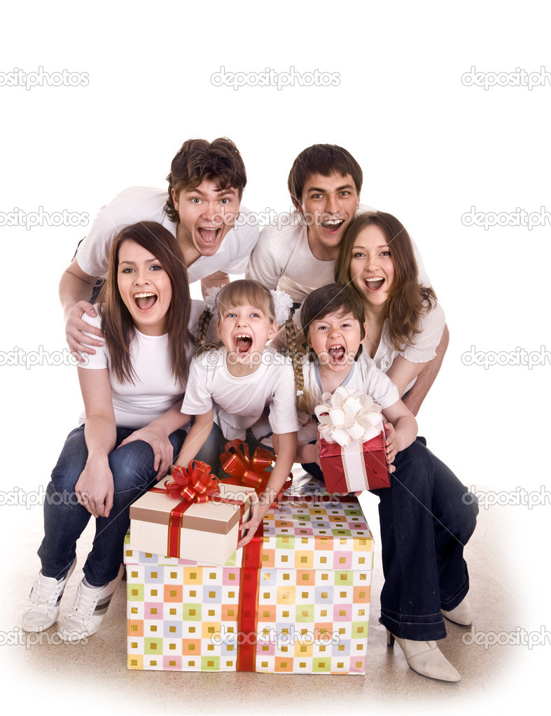 Happy family with gift box. Isolated. — Stock Photo #1336507