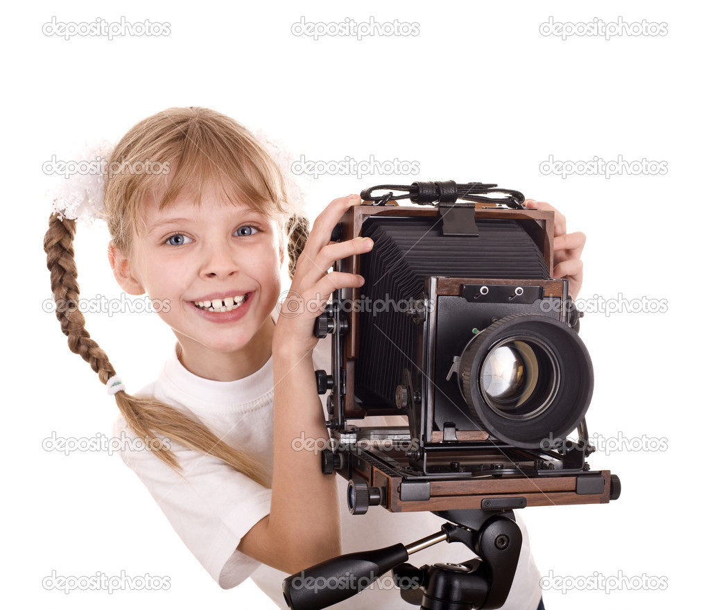 Child  with old wood large format digital camera. Isolated. — Stock Photo #1336617