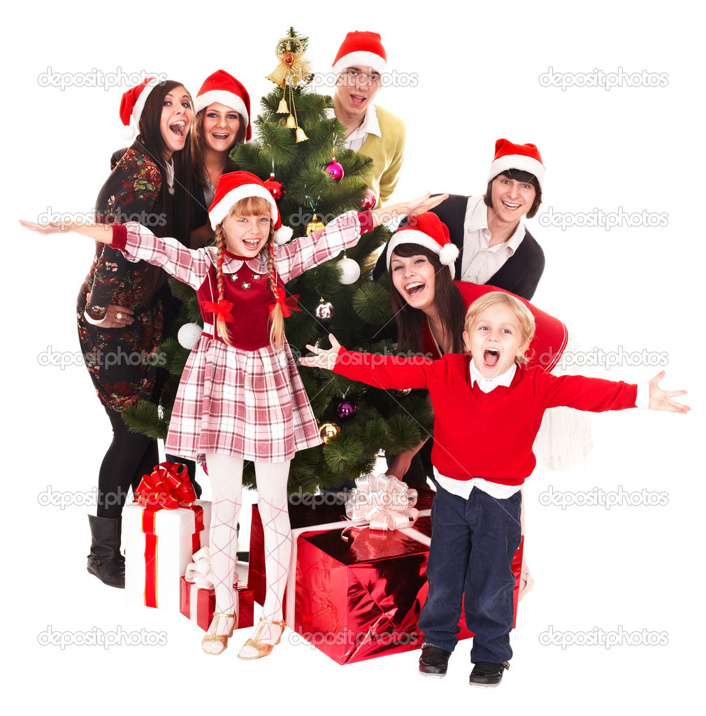 Group  , children  in santa hat with christmas tree. Isolated. — Stock Photo #1337191