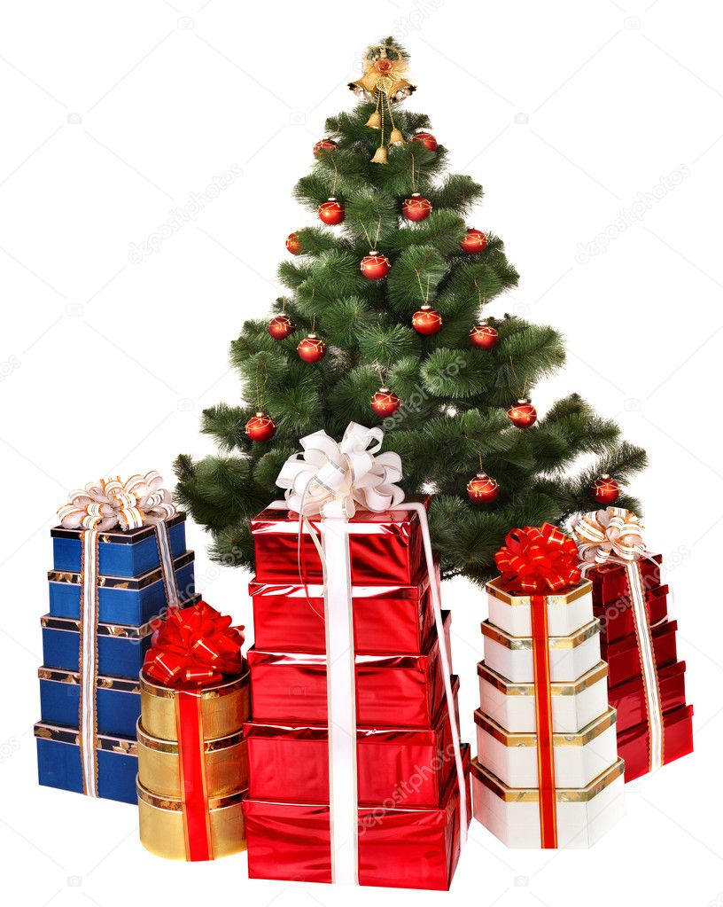 Christmas tree and group gift box. Isolated. — Stock Photo #1337264