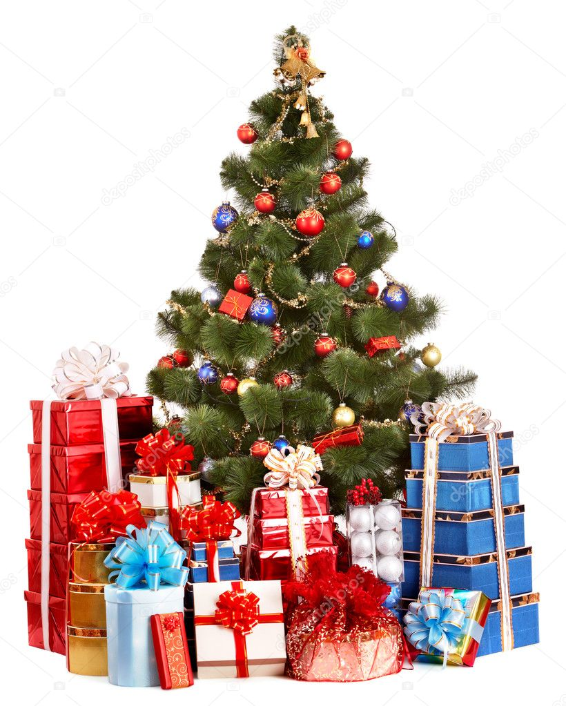 Christmas tree and group gift box — stock photo