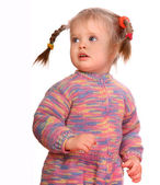 Portrait of standing child in sweater. — Stock Photo