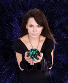 Girl with fortune telling ball — 图库照片